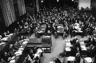 View of the courtroom during the Nuremberg Trials in the context of the International Military Tribunal against the major war criminals of World War II in Nurember, Germany, in 1946. The photo was taken by the Soviet photographer Yevgeny Khaldei, who was commissioned by the USSR to cover the trials. Photo: Yevgeny Khaldei