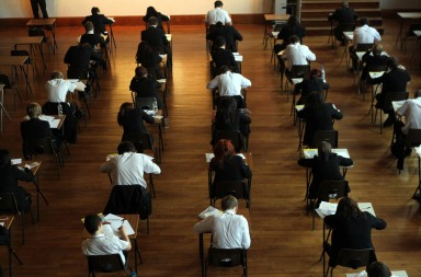 Embargoed to 0001 Friday March 14 File photo dated 02/03/12 of an exam in progress as giving every student an A grade at the start of the school year may help drive pupils to do well, research suggests.