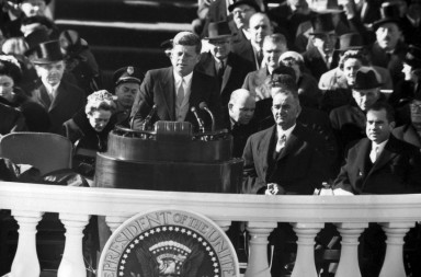 Image #: 14091102    President John F. Kennedy delivering his inauguration speech, January 20, 1961.    CBS /Landov