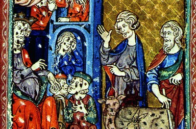 THE PLAGUE OF LICE.  Illumination from the Golden Haggadah, Spain, 1320-30.